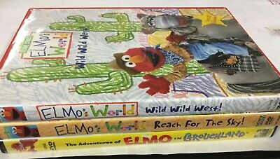 3 SESAME STREETELMO'S WORLD DVD LotWild West Reach For The Sky in Grouchland
