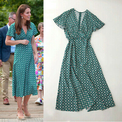 Kate Middleton Printed Flowing V-neck Midi Summer Casual Vintage Green Tea Dress
