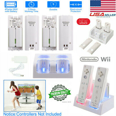 4x Rechargeable Batteries Pack - Charger Dock For Nintendo Wii Remote Controller