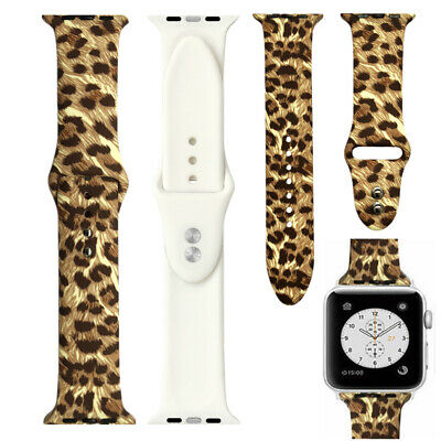 Leopard Silicone Apple Watch Band Rubber Strap For iWatch Series 65432 3842mm