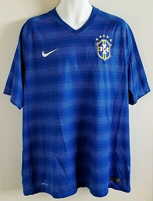 Nike National Team Brazil 2014 World Cup Soccer Away Jersey XL Pre-owned