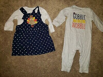 Carters Baby Girl Thanksgiving Turkey Jumper Dress Outfit Set 9m Carters