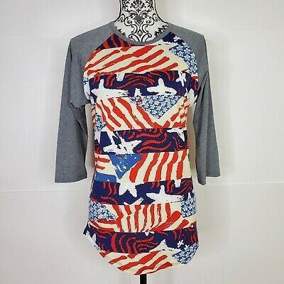 LuLaRoe Red White - Blue Patriotic 34 Sleeve Shirt Sz Small Fourth of July Tee