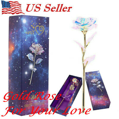 Galaxy Rose Flower Valentines Day Lovers Gift Romantic Crystal Rose With Box US