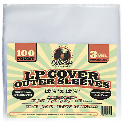 100 LP Plastic Vinyl Album Covers 3 Mil Clear Poly Outer Sleeves - Record Cover