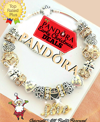 Authentic Pandora Charm Bracelet Silver Gold VALENTINES with European Charms NEW