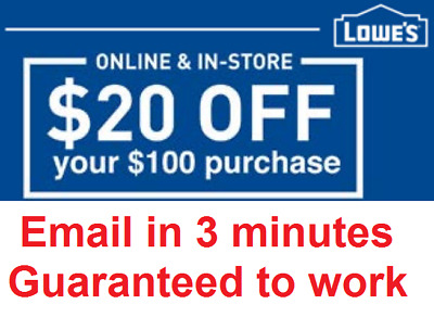 One 1x Lowes 20 OFF 100 InStore and Online1Coupon-Fast Delivery-