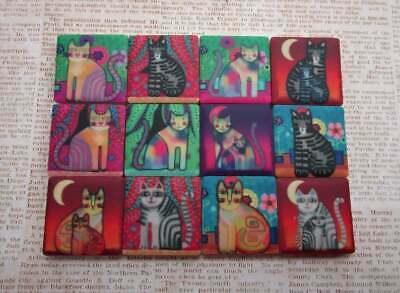 Ceramic Mosaic Tiles - 12 Piece Mixed Set - Funky Cats Mixed Designs Mosaic