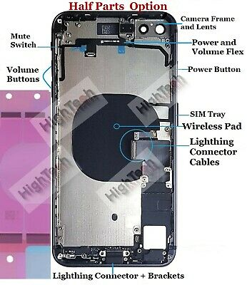 Iphone 8 Plus OEM Back Housing Frame Full Cover Small Parts Door Wireless Pad