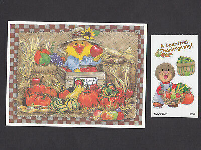Suzy Zoo Thanksgiving Card - Sticker  Suzy at Market Stand w Bountiful Harvest