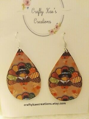 Thanksgiving faux leather earrings