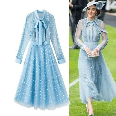 Princess Kate Middleton Runway Vintage Dress Lace Mesh Long Sleeve Embroidery