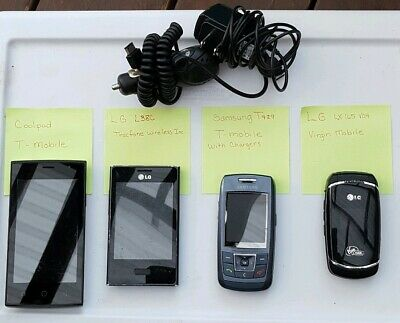 4 Used Cell Phones LG Virgin Mobile Samsung - Coolpad T-Mobile - LG Tracfone