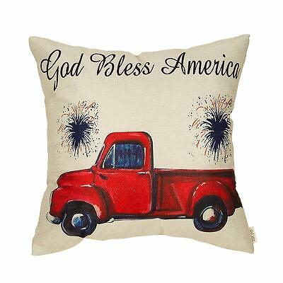 Fjfz 4Th Of July Decor God Bless America Vintage Red Truck Sign Patriotic Quote