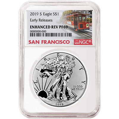 2019-S Enhanced Reverse Proof 1 American Silver Eagle NGC PF69 Trolley ER Label