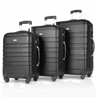 3PCS Luggage Travel Set ABS Spinner Bag Trolley Suitcase w Lock 20 24 28