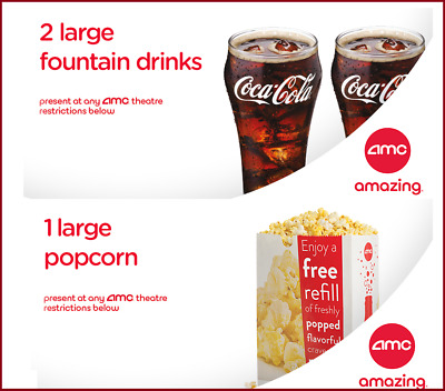 AMC Theaters 2 Large Drinks Coke - Large Popcorn  Fast E-Delivery Exp 123120