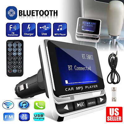 Car Bluetooth FM Transmitter MP3 Player Aux USB Charger Hands-Free Call 1-4 inch