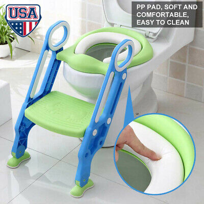 Kids Potty Training Seat with Step Stool Ladder Child Toddler Toilet Chair Soft