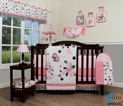 13PCS New Pink Butterfly Baby Nursery Crib Bedding Sets  Holiday Special