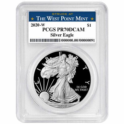 2020-W Proof 1 American Silver Eagle PCGS PR70DCAM West Point Label