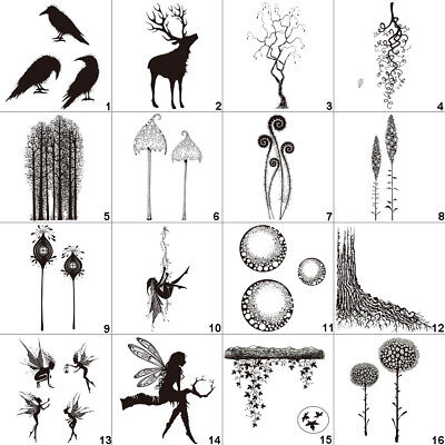 Forest Fairy Land Transparent Silicone Clear Stamps DIY Art Tree Mushroom Leaf