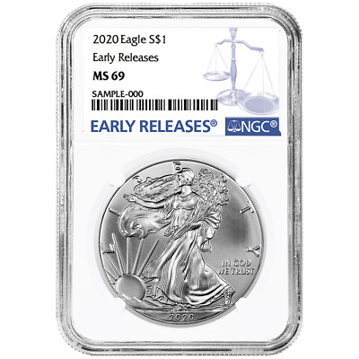 2020 1 American Silver Eagle NGC MS69 Blue ER Label