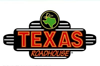 50 Texas Roadhouse Gift Certificate Instant Email or Mail Delivery
