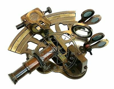 Antique Brass Working Marine Sextant Collectible Vintage Nautical Ship Astrolabe