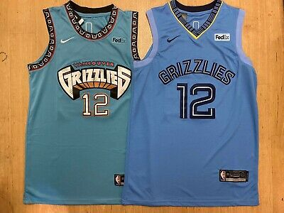 NWT Ja Morant 12 Memphis Grizzlies Throwback Teal  Navy Mens Stitched Jersey