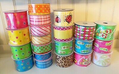 10 Yards Roll of Summer Designs Ribbon 1-5 or 2-5 CHOICE Wire Edge Wired