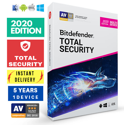 BITDEFENDER TOTAL SECURITY 2020 -5 YEARS- ONE DEVICE ACTIVATION DOWNLOAD