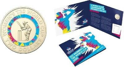 2020 ICC Women's T20 World Cup Cricket Coloured 2 Coin In Official RAM Folder