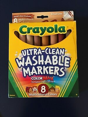 Crayola Ultra-Clean Washable Markers ColorMax Multicultural Skin Colors 8 Pack