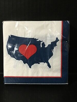 Fourth of July Red White Blue Napkins Celebrate It 9-8 x 9-8 24 pc New 🇺🇸
