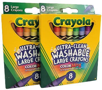 Crayola Bs523280 Large Washable Crayons 8 Colors - 2 Packs 16 Total Crayons