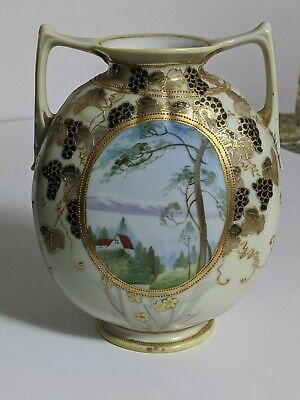 Antique Nippon Moriage Two Handle Moon Flask Vase- 7-75in- Ex- Cond-