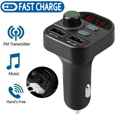 Car FM Transmitter Bluetooth Wireless MPS Player Dual USB Cell Phone Charger Kit