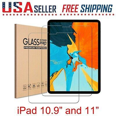 2 Pack For Apple iPad Pro 2020 11 Tempered Glass Screen Film Protector Pencil