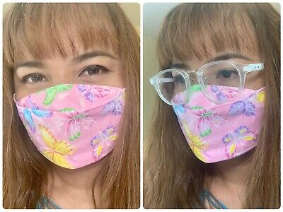 Pink Purple Butterfly Glittery Cotton Fabric Face Mask HandmadeGood For Glasses