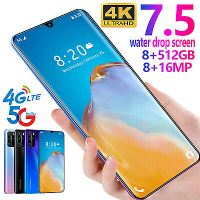 7-5 P40 Pro HD Full Screen 8-512G 256G Android 9-1 GSM Unlock 4G 5G Smartphone