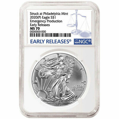 2020 P 1 American Silver Eagle NGC MS70 ER Emergency Production Blue Label