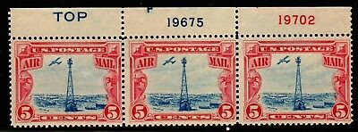 US Airmail Stamps C11 strip of 3 w plate s - TOP Mint H cv21-00Free Ship