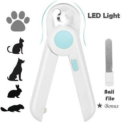 LED Light Pet Nail Clippers Trimmer Tool Pet Care Grinders Cat Dog w Nail File