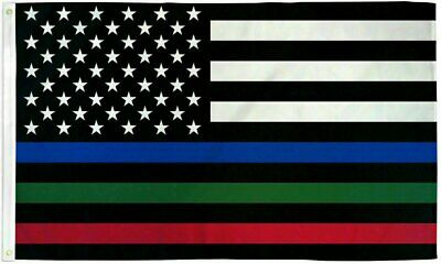 USA Thin Red Blue - Green Line 3x5ft Flag - Grommets - Police - Fire - Military