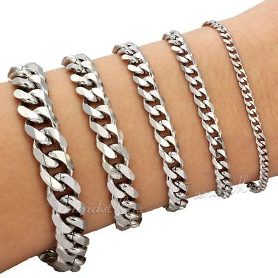 Mens Chain 357911mm Stainless Steel Bracelet Silver Curb Cuban Link 7-11
