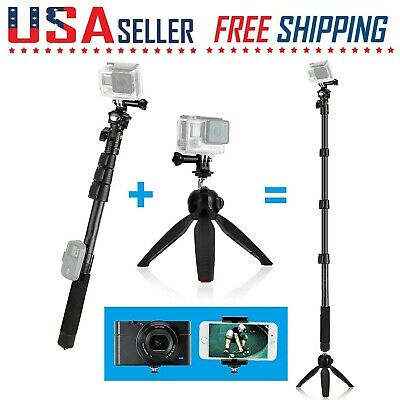 Monopod 3 in 1 Telescopic Pole Tripod Extendable Adjustable Stand Mount 16-47 In