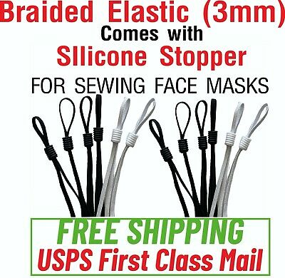2050100PIECES - 18 Braided Elastic comes with Silicone Stopper Mask Sewing