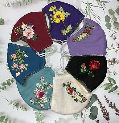 Handmade Ribbon Embroidered -Reuseable-Washable Facemask Linen fabric 3 layers