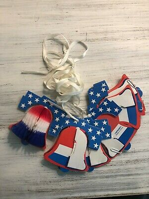 Fourth of July Tissue Liberty 12 Bells Garland Red White Blue with Ribbon Party
